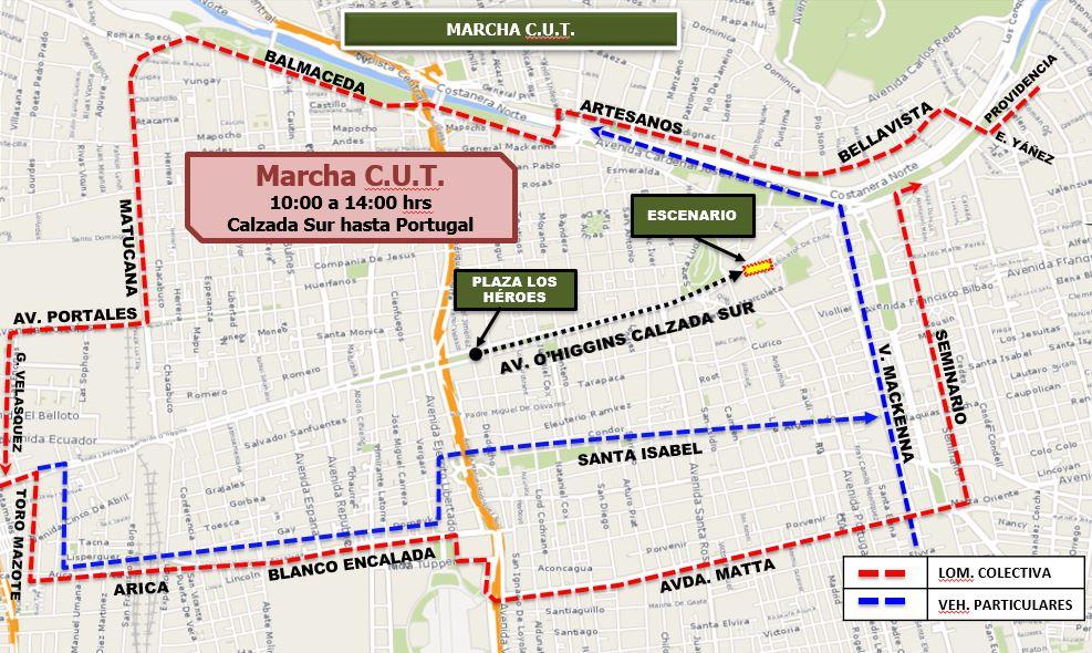 Marcha de la CUT se desarrolló de forma pacífica por la Alameda