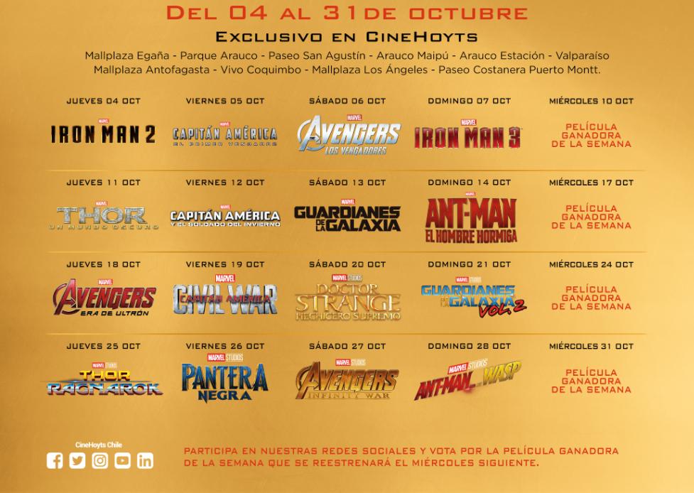 e02f8e775 Prepárate! Cinehoyts hará una maratón con todas las películas de Marvel