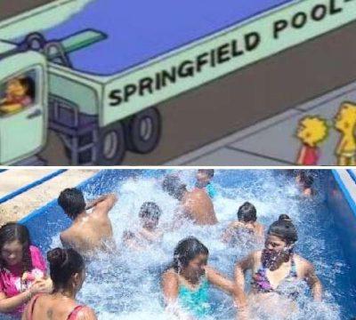 Los Simpsons inspiran a chileno a crear una piscina arriba de un camión
