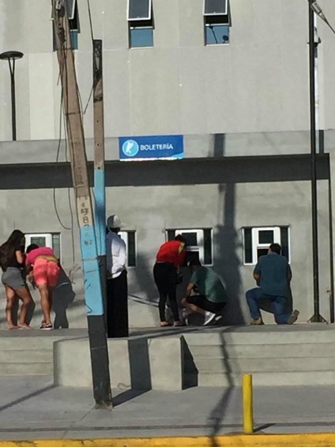 Fotos: Estadio de Iquique tiene boleterías tan chicas que los compradores deben comprar agachados