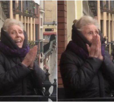 Vecinos celebran cumpleaños de señora de 89 años desde sus balcones